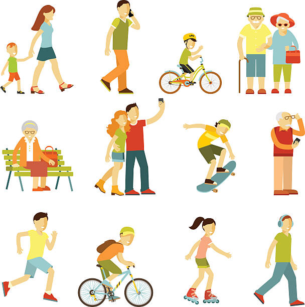 bildbanksillustrationer, clip art samt tecknat material och ikoner med different people in outdoors physical activity - active senior