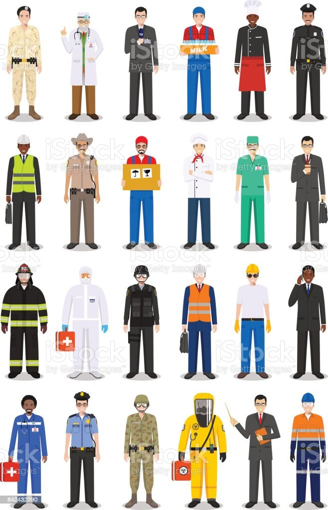 Different people professions occupation characters man set in flat style isolated on white background. Templates for infographic, sites, banners, social networks. Vector illustration. vector art illustration