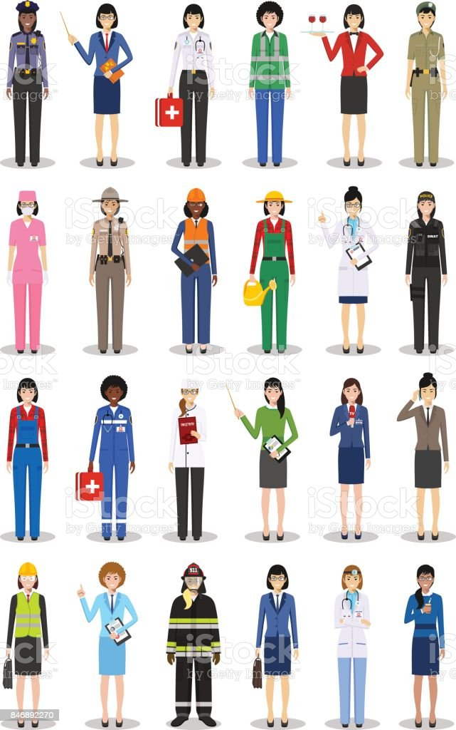 Different people professions occupation characters woman set in flat style isolated on white background. Templates for infographic, sites, banners, social networks. Vector illustration. vector art illustration