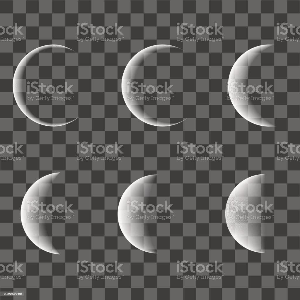 Diferentes fases da lua em fundo transparente. Vector. - ilustração de arte em vetor
