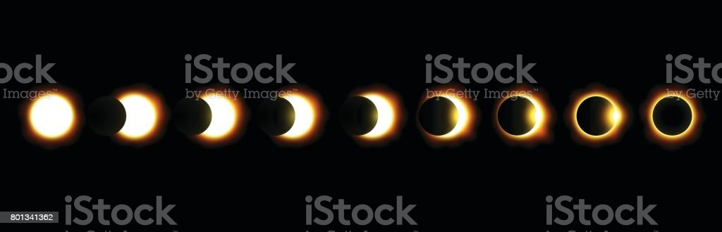 Different phases of solar and lunar eclipse . Vector . vector art illustration