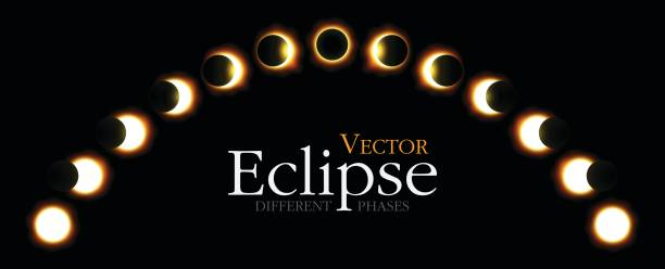 Different phases of solar and lunar eclipse . Vector vector art illustration