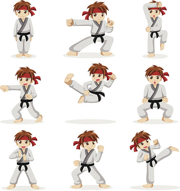 Différentes poses de karaté kid - Illustration vectorielle