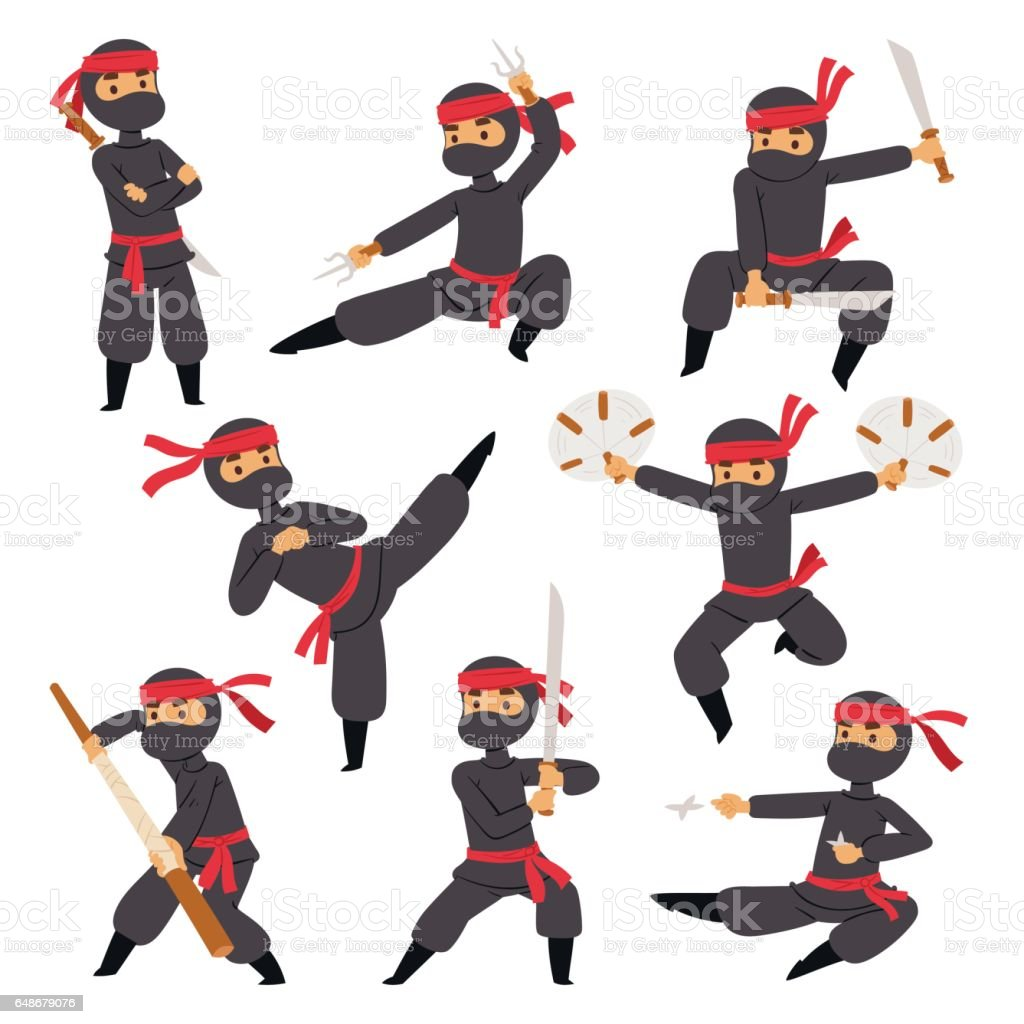 Different poses of ninja fighter in black cloth character warrior different poses of ninja fighter in black cloth character warrior sword martial weapon japanese man and biocorpaavc Choice Image