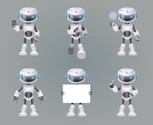different poses robot innovation technology science fiction future cute little 3d icons set design vector illustration - robotics stock illustrations, clip art, cartoons, & icons