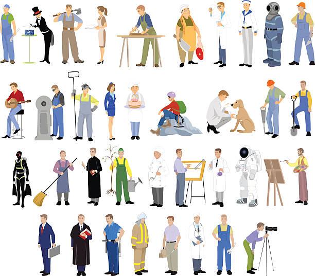 illustrazioni stock, clip art, cartoni animati e icone di tendenza di diverse professioni set - frogman