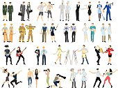 Different professions set. Isolated cartoon characters on white background. All kinds of professional activities as teacher, doctor, firefighter and more.