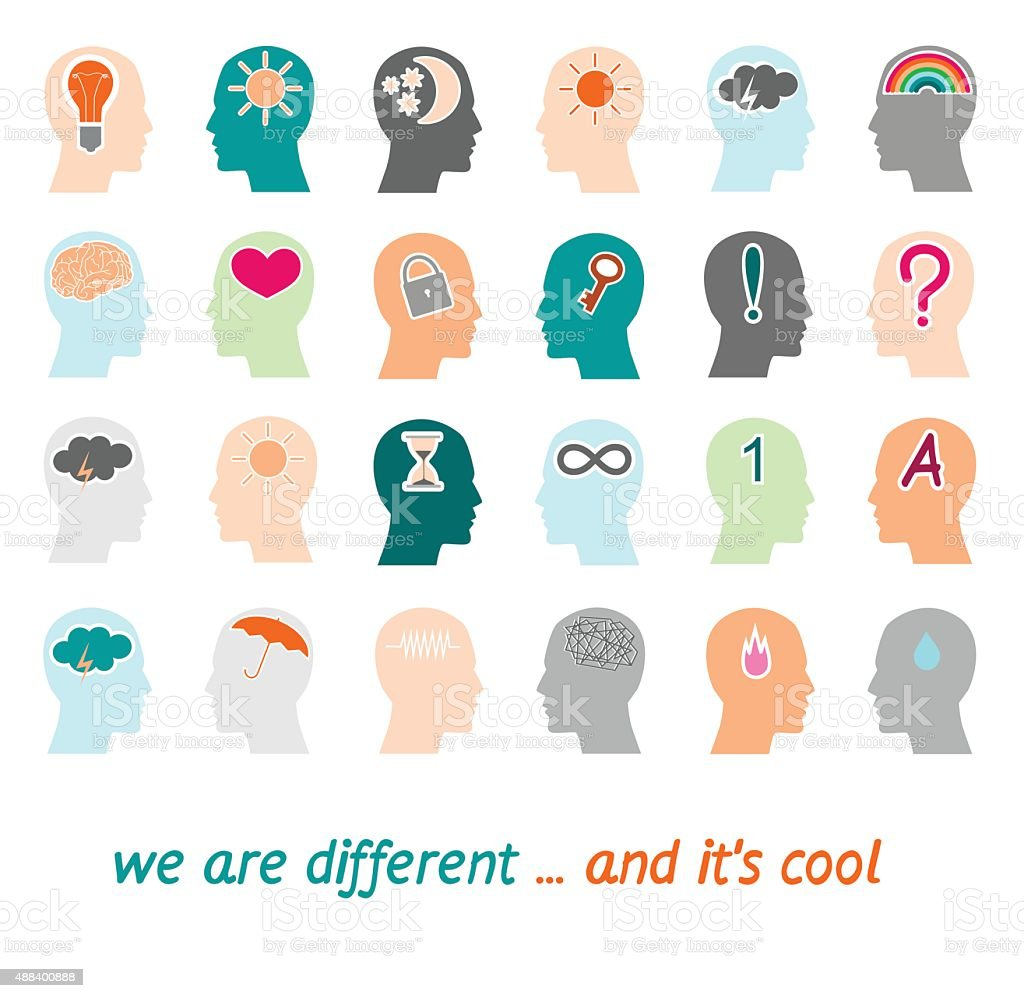 Different psyche people vector art illustration