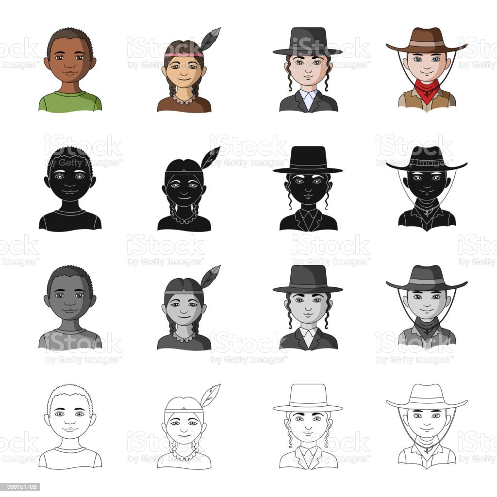 Different race of Negro, Indian, Jew, American. The human race set collection icons in cartoon black monochrome outline style vector symbol stock illustration web. - arte vettoriale royalty-free di Abbigliamento