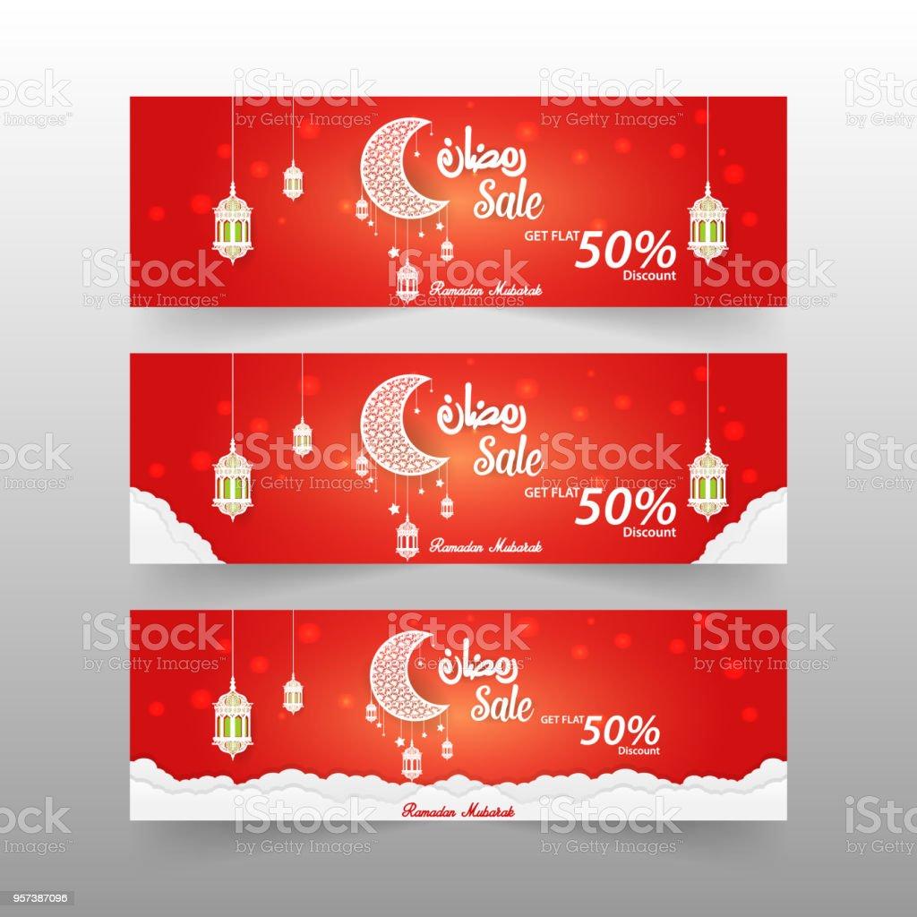 3 Verschiedene Ramadan Verkauf 50 Rabatt Angebot Vorlage Vektor