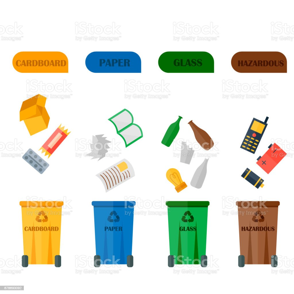 Ilustraci n de diferentes tipos de residuos de basura - Cosas de reciclaje ...