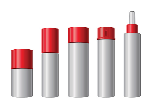 Different red and white cosmetic containers, varying in size