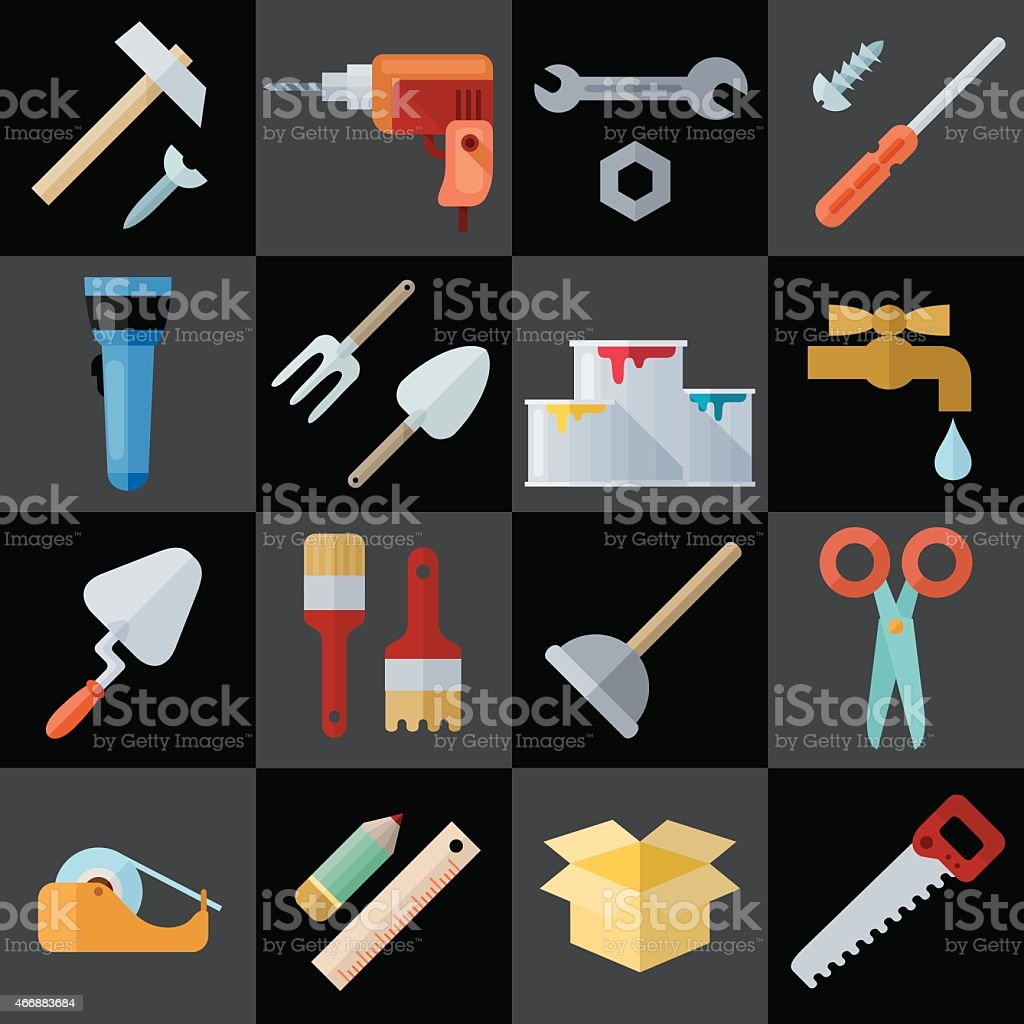 Different Repair Theme Flat Icons vector art illustration