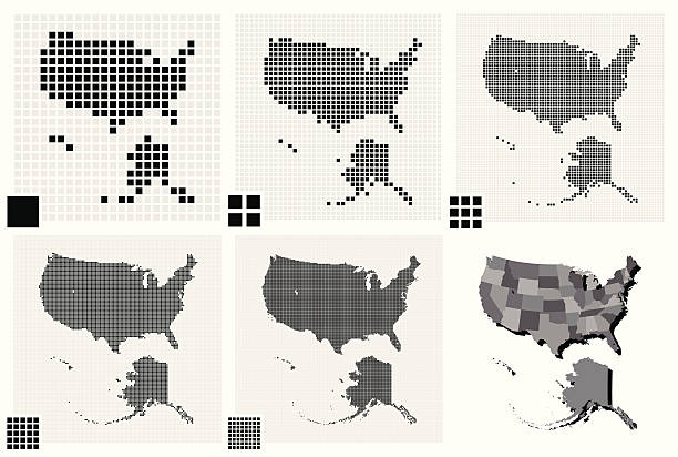 stockillustraties, clipart, cartoons en iconen met different resolutions of united states dotted maps - united stats halftone dots