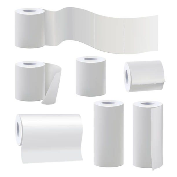 Different rolls of blank toilet papers. Vector illustration set Different rolls of blank toilet papers. Vector illustration set paper roll for bathroom and kitchen towel toilet paper stock illustrations