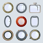 Different round ship and plane portholes. Vector illustration isolate on white