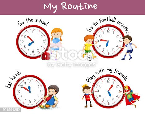 Different Routines On Poster With Kids And Activities Stock Vector Art More Images Of Activity 921594252