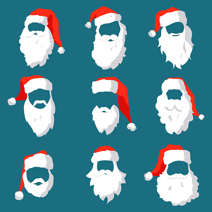 Different Santa hats, moustache and beards template set. Christmas face elements for past your festive design. Vector hipster silhouette Santa Claus character
