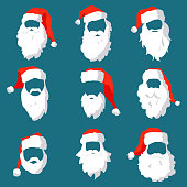Different Santa hats, moustache and beards template set. Christmas face elements for past your festive design. Vector hipster silhouette Santa Claus character eps10