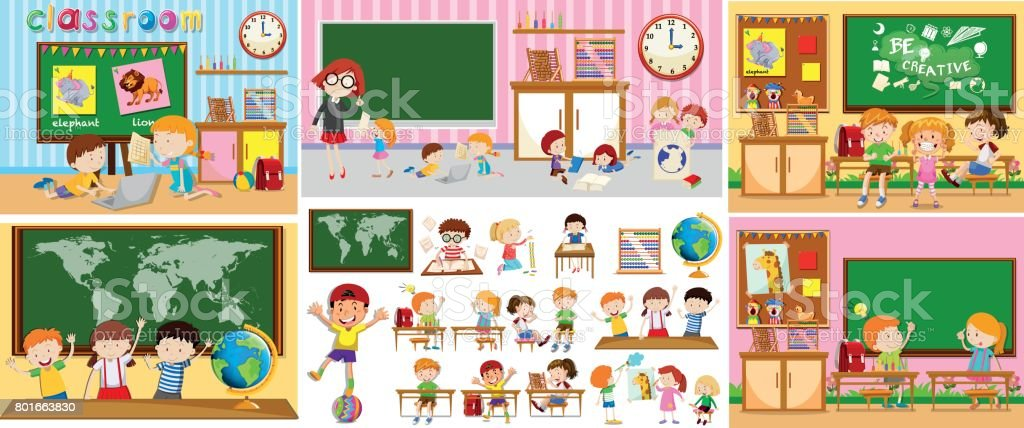 Different scenes of classrooms with kids vector art illustration