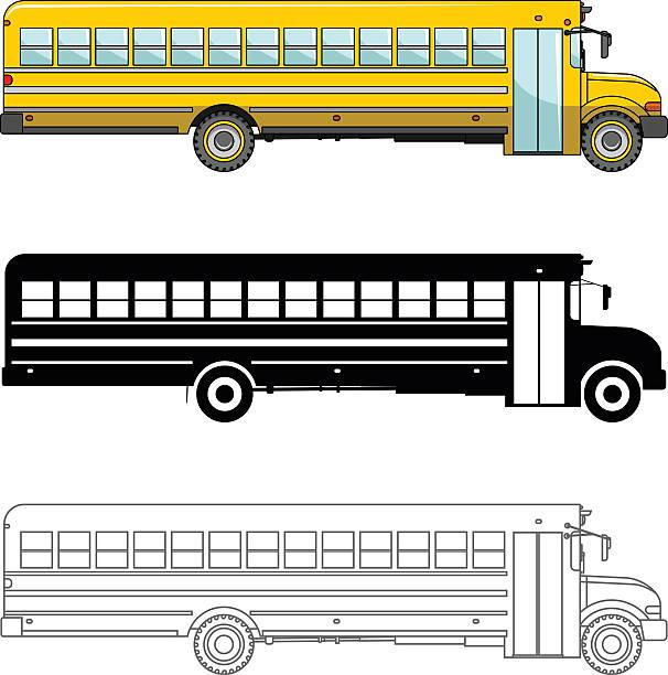 ilustrações, clipart, desenhos animados e ícones de vários ônibus escolar isolado no fundo branco com tv estilo. - ônibus escolares