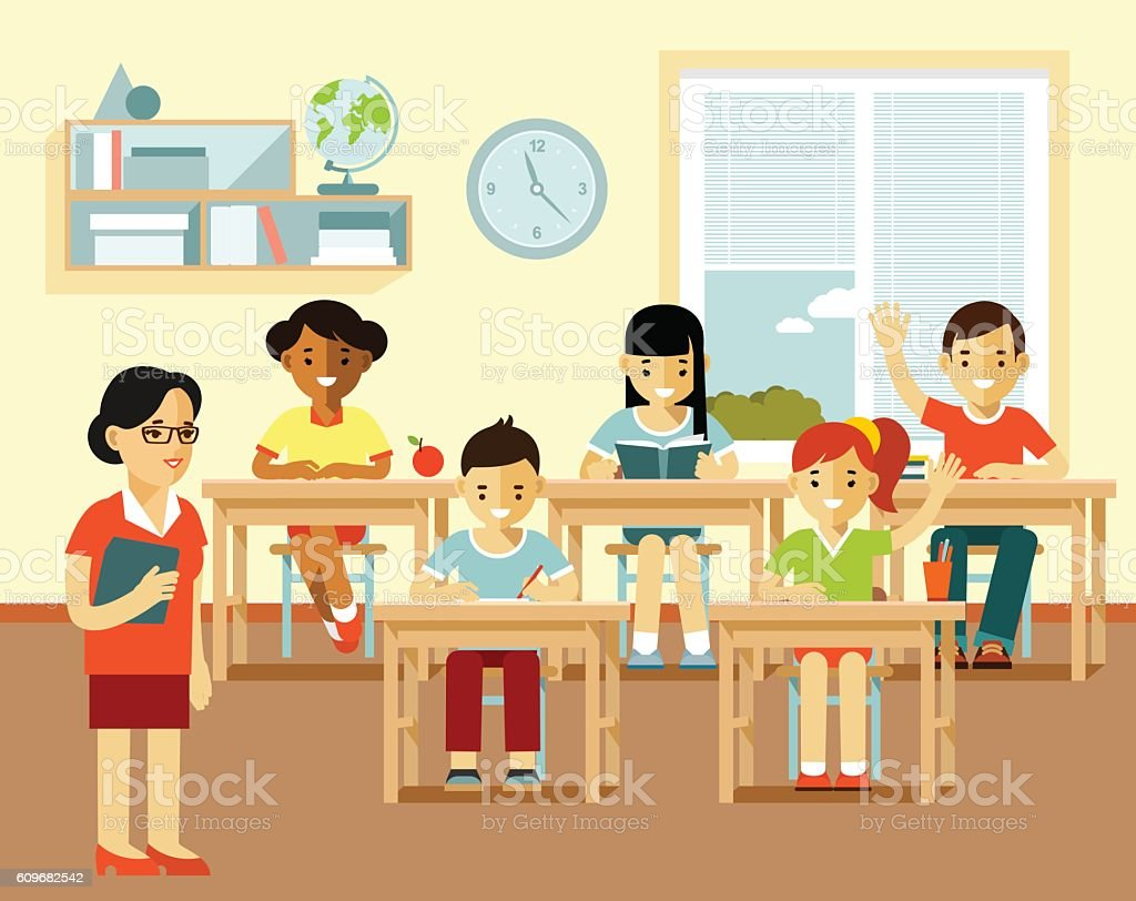 Different school children and teacher at class lesson vector art illustration