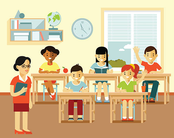 Different school children and teacher at class lesson - ilustración de arte vectorial
