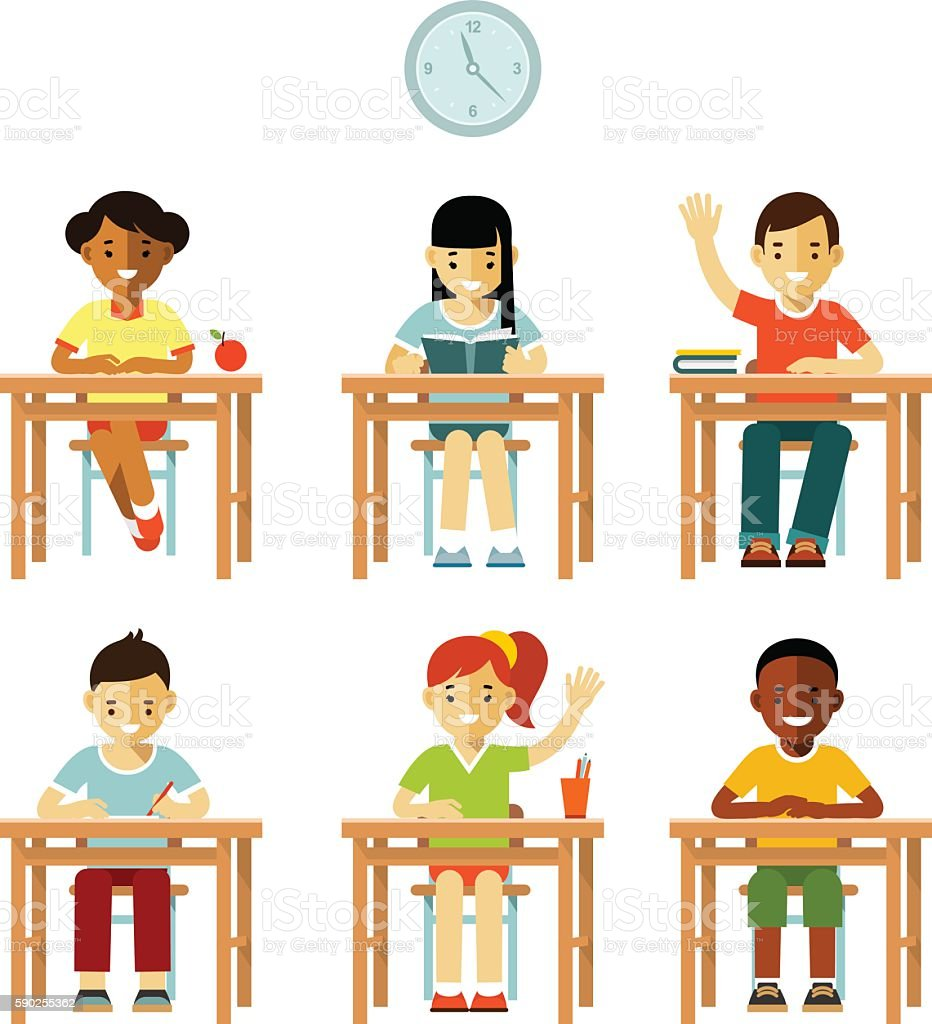 Different school children class set in flat style vector art illustration