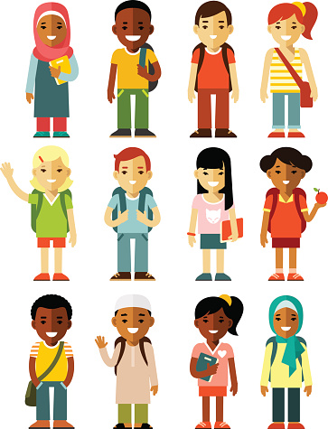 Different school children stand set in flat style clipart