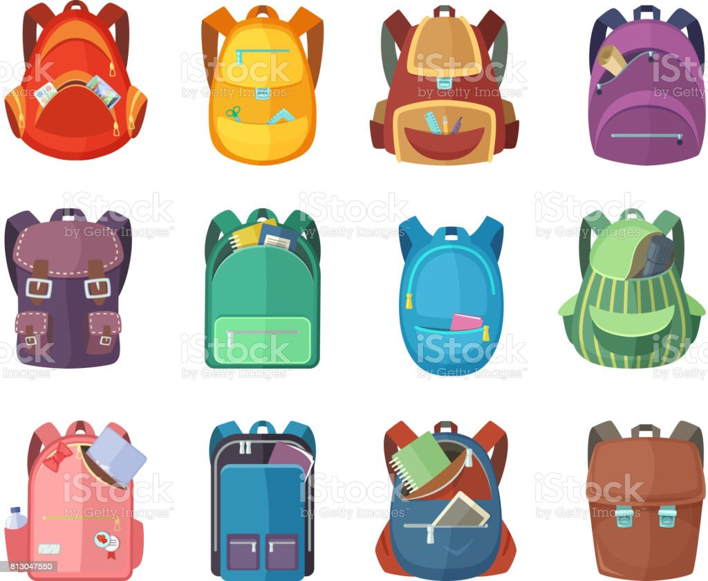 Different schoolbags in cartoon style isolate on white background. Vector education illustrations векторная иллюстрация