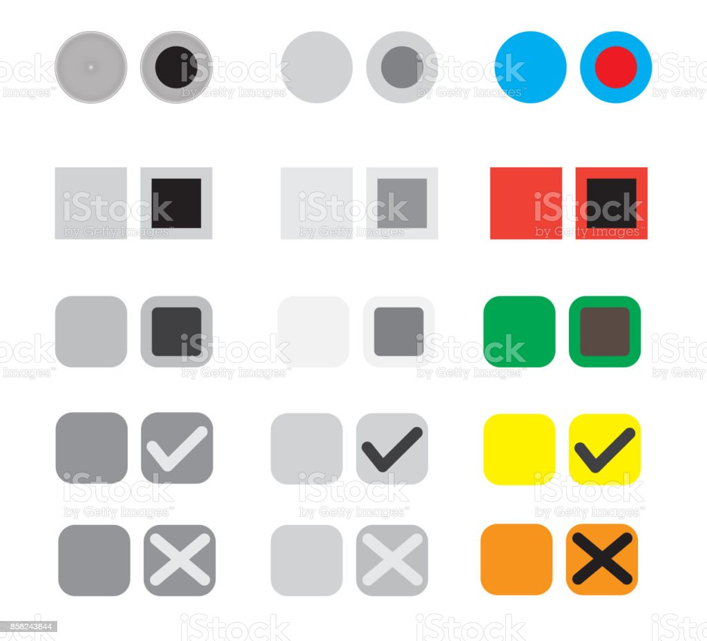 different selection buttons set. selection graphic buttons on white background. election buttons sign. vector art illustration