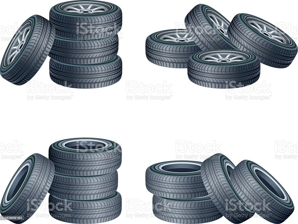 Different set of tires on a white background royalty-free stock vector art