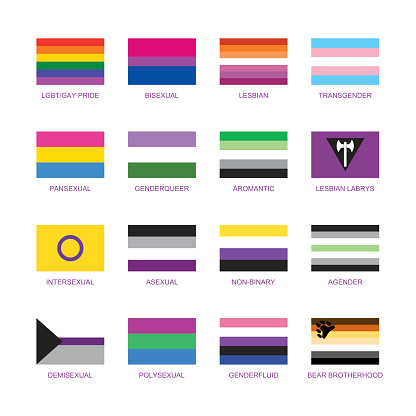 Different sexual identity pride flag icon set vector