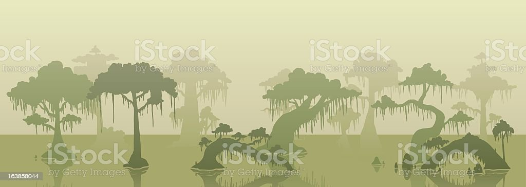 Different shades of trees and water in a swamp background vector art illustration