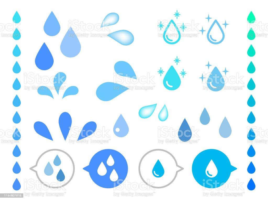 現実的な水の異なる形状は、白の背景にベクトルをドロップします。 - しぶきのロイヤリティフリーベクトルアート