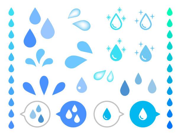 現実的な水の異なる形状は、白の背景にベクトルをドロップします。 - 水滴点のイラスト素材/クリップアート素材/マンガ素材/アイコン素材