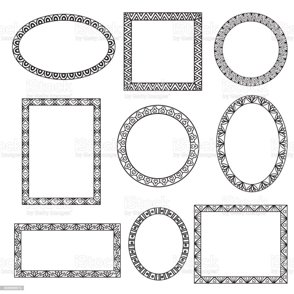Different Shape Ornamental Doodle Frames Stock Vector Art & More ...