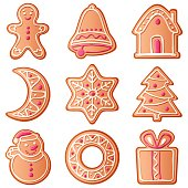 Collection of Christmas cookies, vector illustration