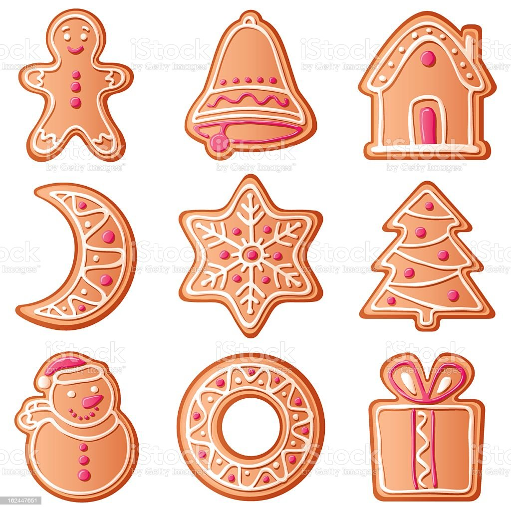 Different shaped Christmas cookies vector art illustration
