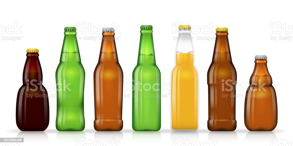 Different shapes and sizes of beer bottles vector vector art illustration