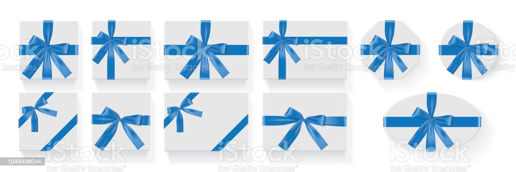 different shapes of boxes with a blue bow Vector vector art illustration
