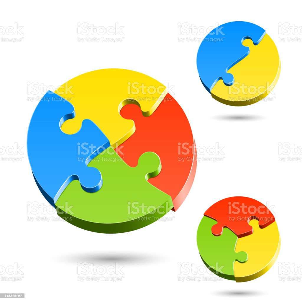 Different shapes of jigsaw puzzle royalty-free stock vector art
