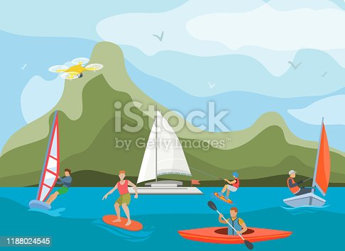 istock Different ships and vessels for water activity vector illustration. Water sportsmen people and kinds of sports surfing, windsurfing, kayaking, yachting and wakeboarding. 1188024545