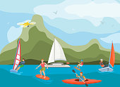 Different ships and vessels for water activity vector illustration. Water sportsmen people and kinds of sports surfing, windsurfing, kayaking, yachting and wakeboarding. Quadcopters camera shooting.