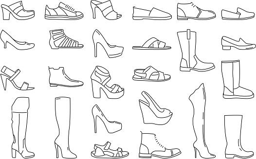 Män, skor, affär. Illustration, men., vektor, skor, affär.