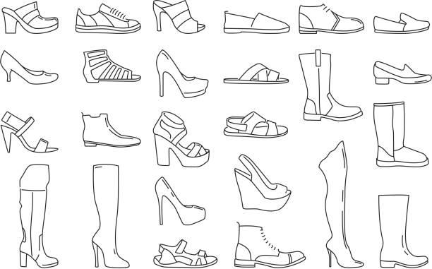 stockillustraties, clipart, cartoons en iconen met verschillende schoenen voor mannen en vrouwen. vectorillustraties in lineaire stijl - sandaal