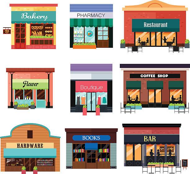 Different Shop Icons vector art illustration