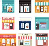 Includes books store, boutique, bakery, candy shop, coffee shop, restaurant, barber shop, market