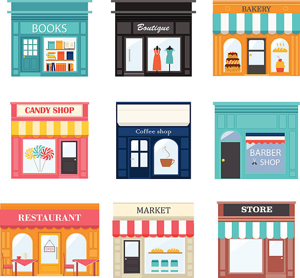 different shops and stores icons set. - small business stock illustrations