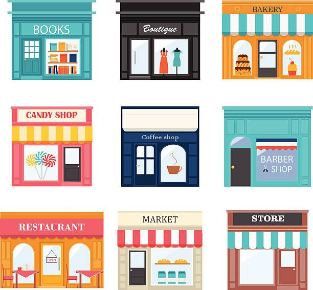 различные магазины и магазины иконки набор. - small business stock illustrations